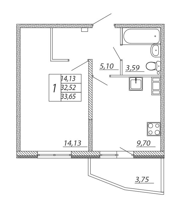 Планировка Однокомнатная квартира площадью 33.65 кв.м в ЖК «Алгоритм»