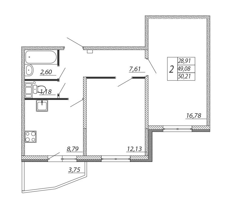 Планировка Двухкомнатная квартира площадью 50.21 кв.м в ЖК «Алгоритм»